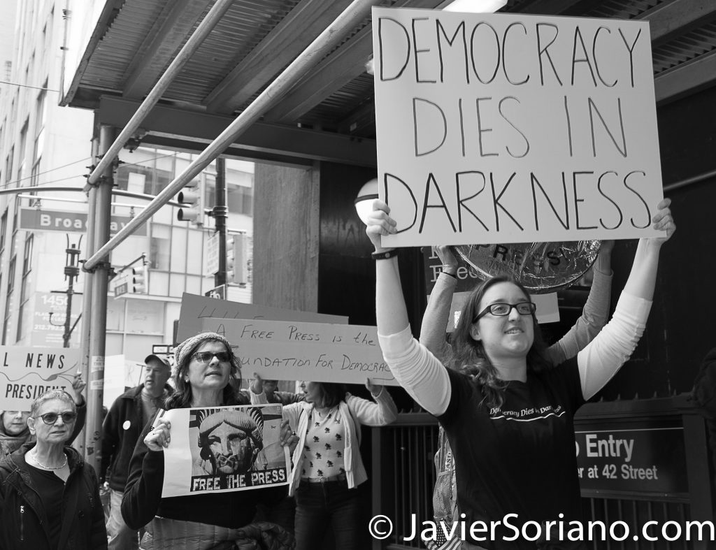 "3/25/2017 NYC - People for Free Press. Activists marching from Bryant Park to the New York Times building. ""Democracy dies in darkness."" Photo by Javier Soriano/www.JavierSoriano.com"