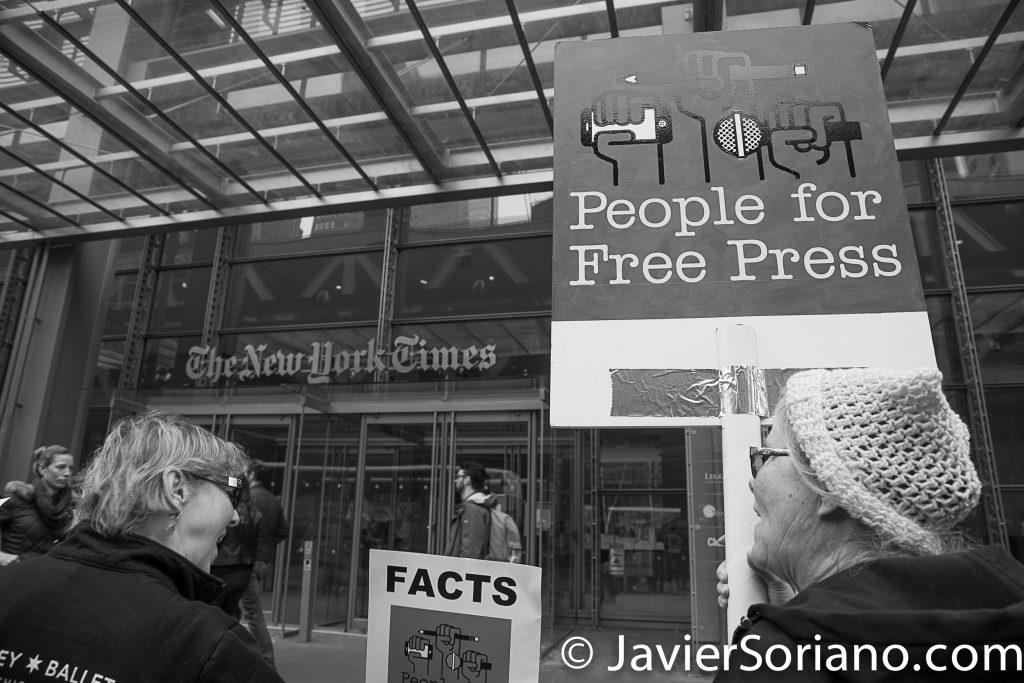 "3/25/2017 NYC - People for Free Press. Activists in front of the New York Times building. ""People for free press."" Photo by Javier Soriano/www.JavierSoriano.com"