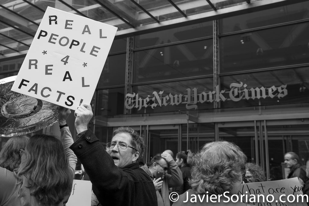 "3/25/2017 NYC - People for Free Press. Activists in front of the New York Times building. ""Real people 4 real facts!"" Photo by Javier Soriano/www.JavierSoriano.com"