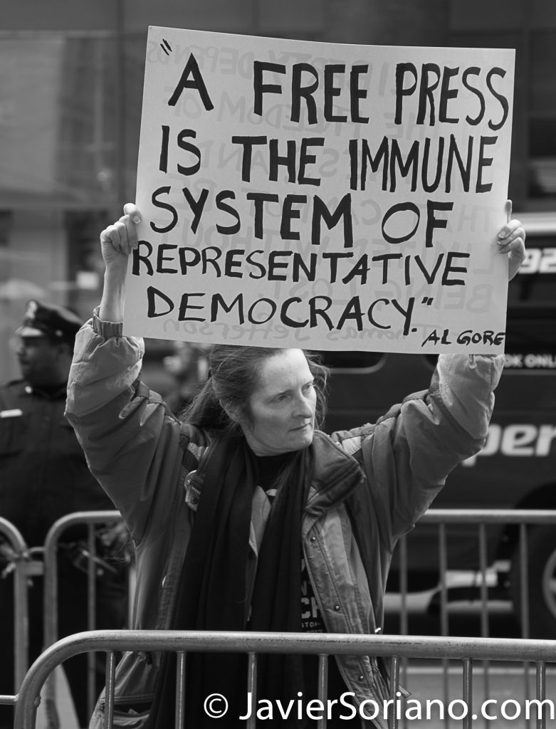 "3/25/2017 NYC - People for Free Press. Activists in front of the New York Times building. ""A free press is the immune system of representative democracy.""_Al Gore Photo by Javier Soriano/www.JavierSoriano.com"