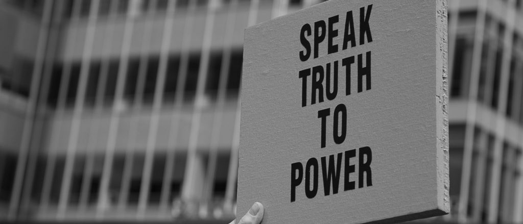 "3/25/2017 NYC - People for Free Press. Activists in front of the New York Times building. ""Speak truth to power."" Photo by Javier Soriano/www.JavierSoriano.com"