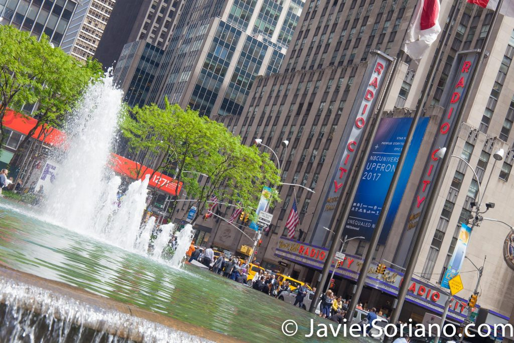 5/15/2017 A fountain and Radio City Music Hall in NYC. Photo by Javier Soriano/www.JavierSoriano.com
