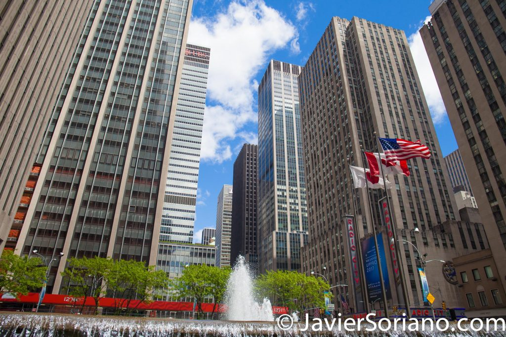 5/15/2017 A fountain and skyscrapers in Manhattan, NYC. Photo by Javier Soriano/www.JavierSoriano.com
