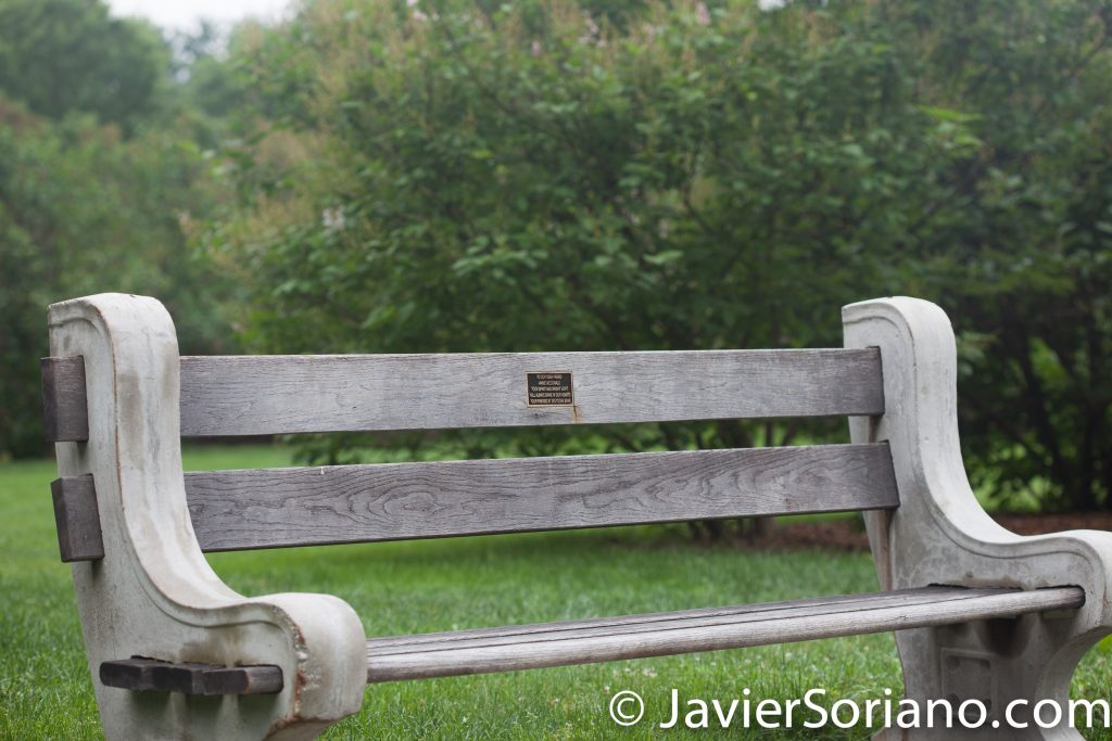 6/6/2017 NYC – Bench dedicated to Annie McDonald at the Brooklyn Botanic Garden. Banca dedicada a Annie McDonald en el Jardín Botanico de Brooklyn. Photo by Javier Soriano/www.JavierSoriano.com