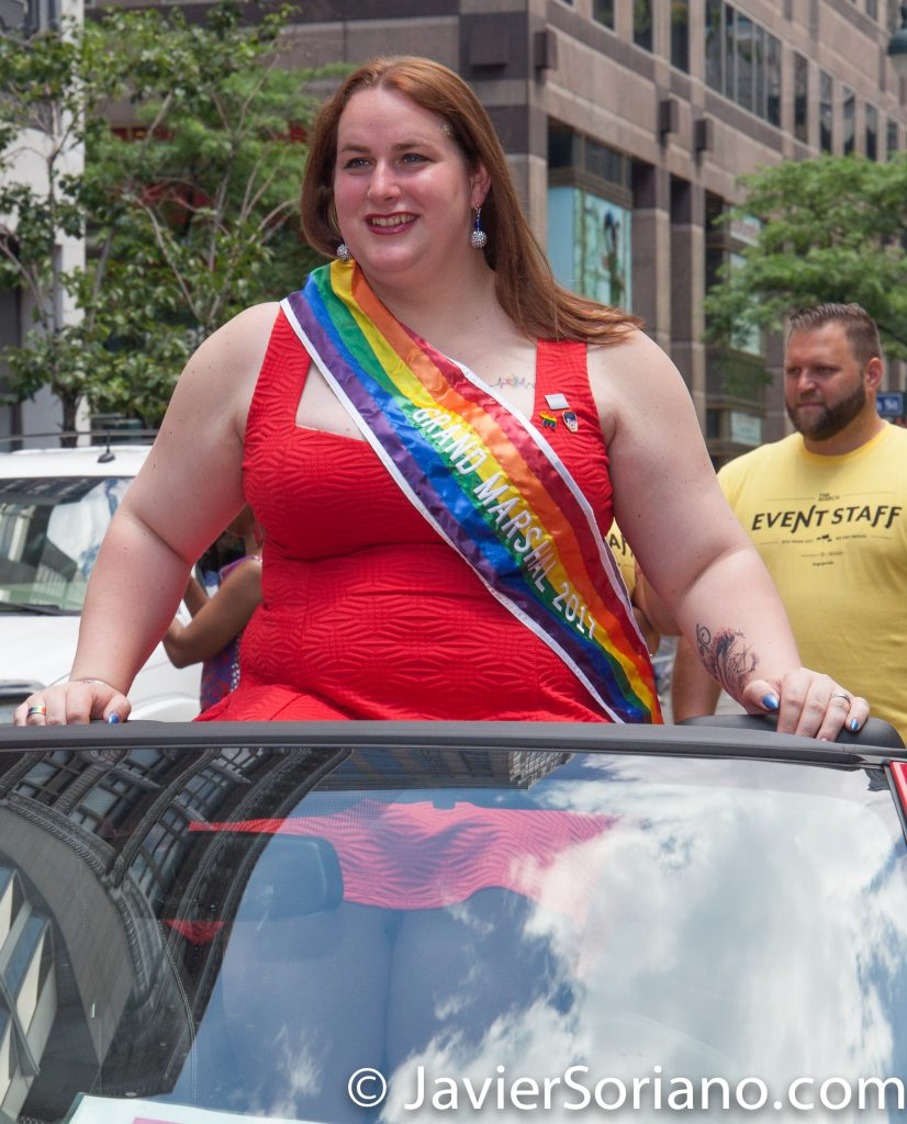 6/25/2017 Manhattan, NYC - Pride March 2017. Grand Marshal. Brooke Guinan is a 29 year old trans woman; an advocate, civil servant, firefighter, and native New Yorker. Photo by Javier Soriano/www.JavierSoriano.com