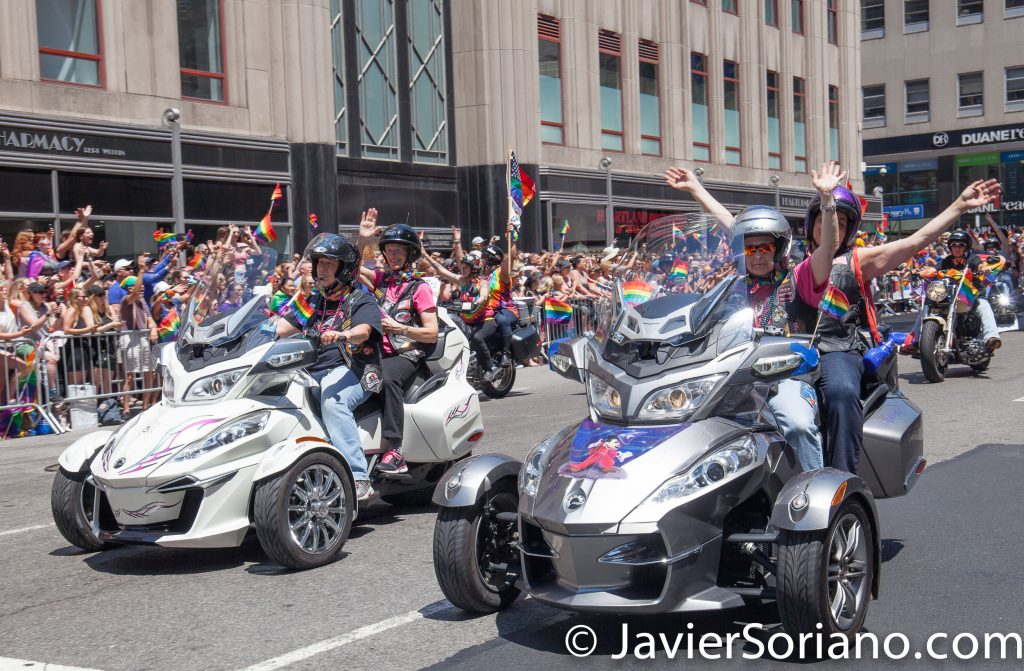 6/25/2017 Manhattan, NYC - Pride March 2017. Women riding motorcycles. Photo by Javier Soriano/www.JavierSoriano.com