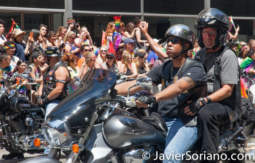 6/25/2017 Manhattan, NYC - Pride March 2017. Men riding motorcycles. Photo by Javier Soriano/www.JavierSoriano.com