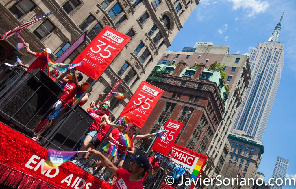 6/25/2017 Manhattan, NYC - Pride March 2017. GMHC and the Empire State Building. Photo by Javier Soriano/www.JavierSoriano.com