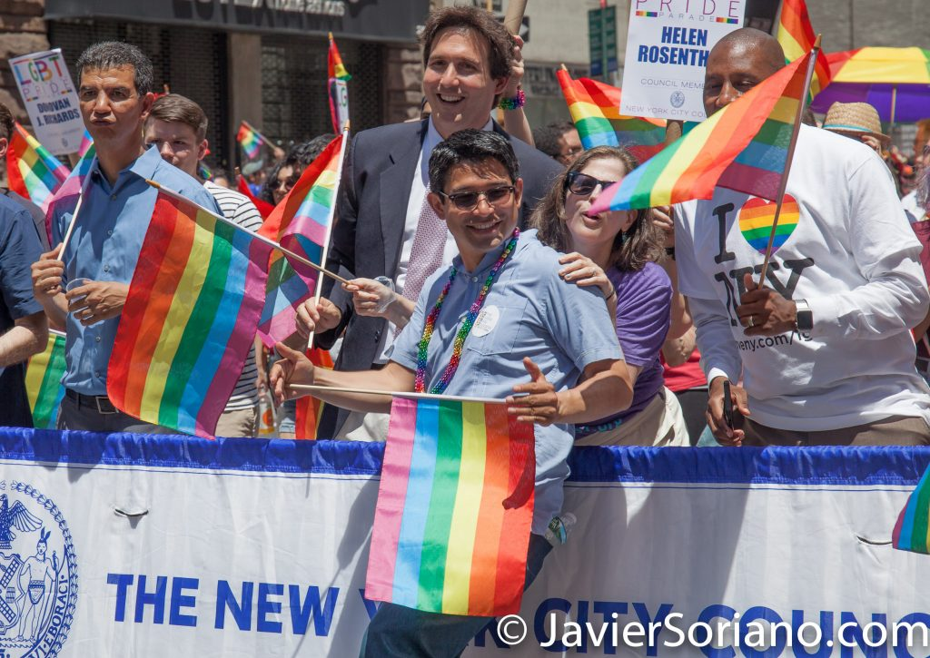 6/25/2017 Manhattan, NYC - Pride March 2017. Council member Carlos Menchaca. Gay and the only Mexican politician in NYC. Photo by Javier Soriano/www.JavierSoriano.com