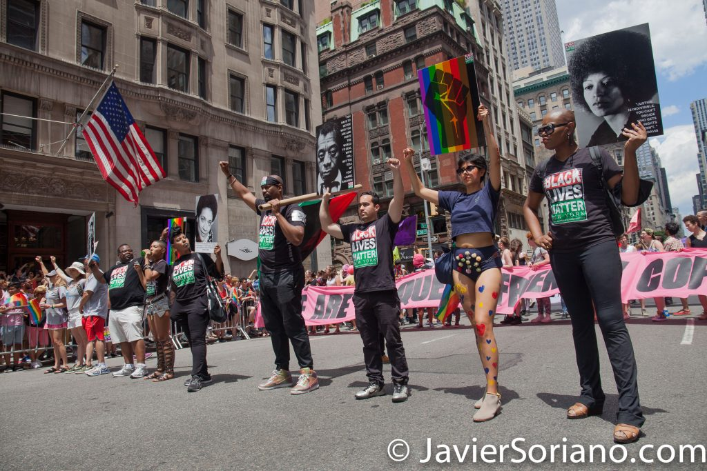 6/25/2017 Manhattan, NYC - Pride March 2017. A group of Black Lives Matter activists. Photo by Javier Soriano/www.JavierSoriano.com
