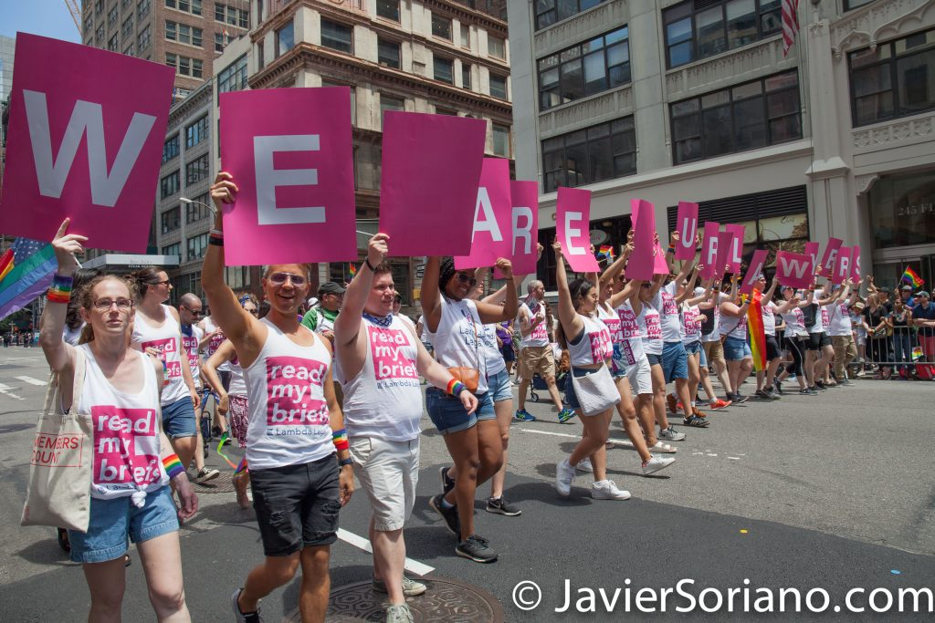 "6/25/2017 Manhattan, NYC - Pride March 2017. ""We are your lawyers.""_Lambda legal Photo by Javier Soriano/www.JavierSoriano.com"