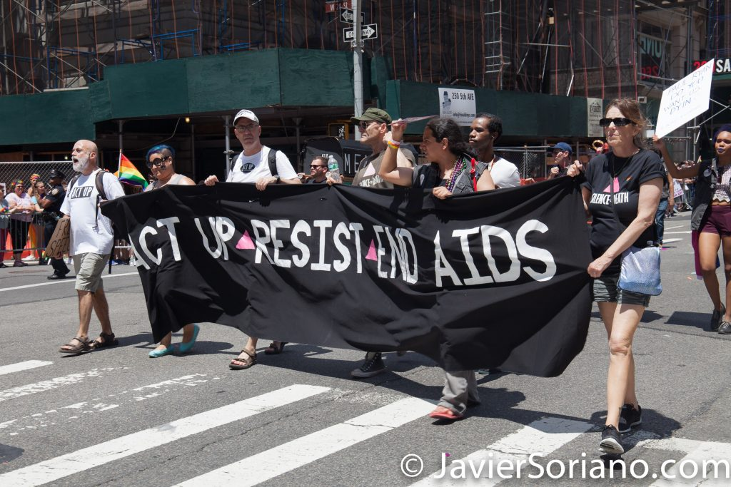 "6/25/2017 Manhattan, NYC - Pride March 2017. ""ACT UP-Resist-End-AIDS."" Photo by Javier Soriano/www.JavierSoriano.com"