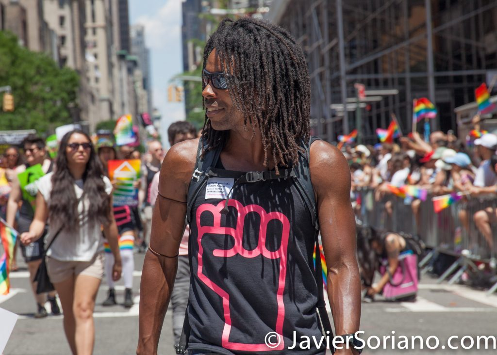 6/25/2017 Manhattan, NYC - Pride March 2017. Black man marching in the LGBTQ march. Photo by Javier Soriano/www.JavierSoriano.com