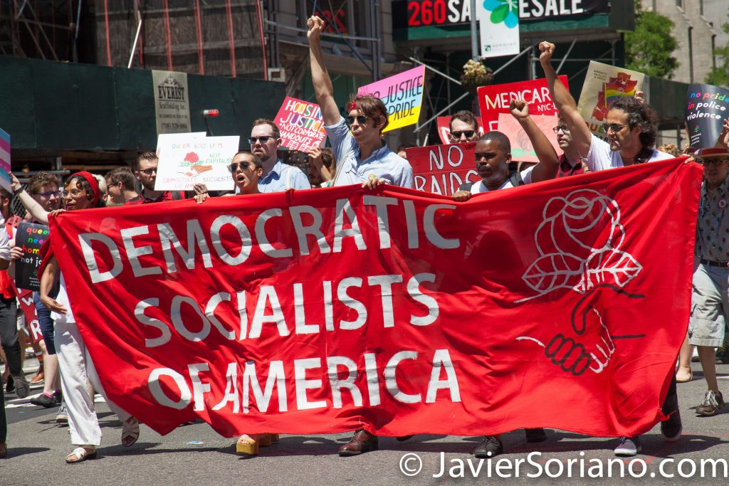 "6/25/2017 Manhattan, NYC - Pride March 2017. ""Democratic Socialists of America."" Photo by Javier Soriano/www.JavierSoriano.com"