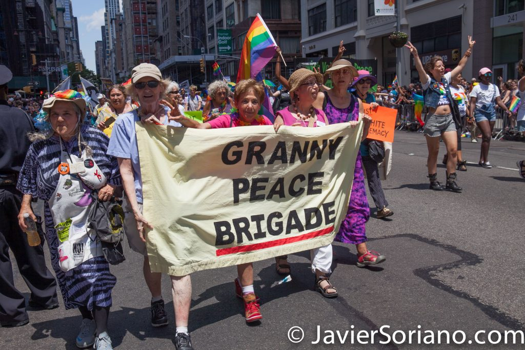 "6/25/2017 Manhattan, NYC - Pride March 2017. ""Granny Peace Brigade."" Photo by Javier Soriano/www.JavierSoriano.com"