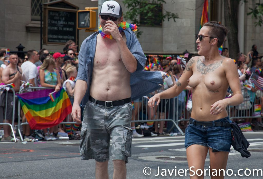 6/25/2017 Manhattan, NYC - Pride March 2017. A topless woman marching in the LGBTQ march. Photo by Javier Soriano/www.JavierSoriano.com