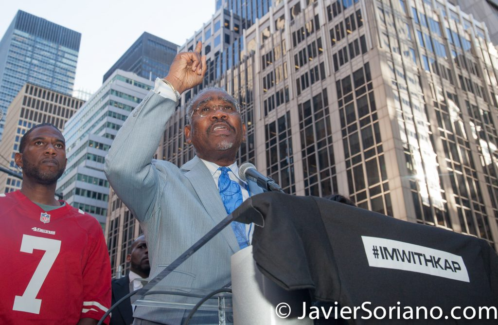 "8/23/2017 NYC - Representative Gregory W Meeks was one of the speakers at the ""United We Stand"" rally in support of Colin Kaepernick.  Gregory Weldon Meeks is the U.S. Representative for New York's 5th congressional district. He is a member of the Democratic Party.  Photo by Javier Soriano/www.JavierSoriano.com"