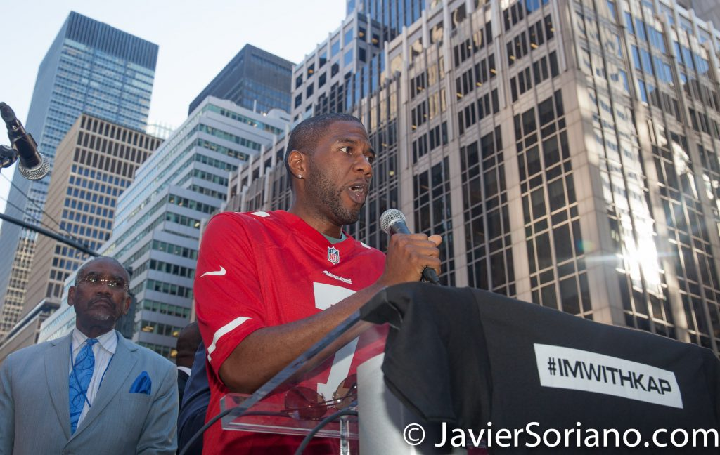 "8/23/2017 NYC - Jumaane Williams was one of the speakers at the ""United We Stand"" rally in support of Colin Kaepernick.  Jumaane is the Council member for the 45th District of the New York City Council. He is a Democrat.  Photo by Javier Soriano/www.JavierSoriano.com"