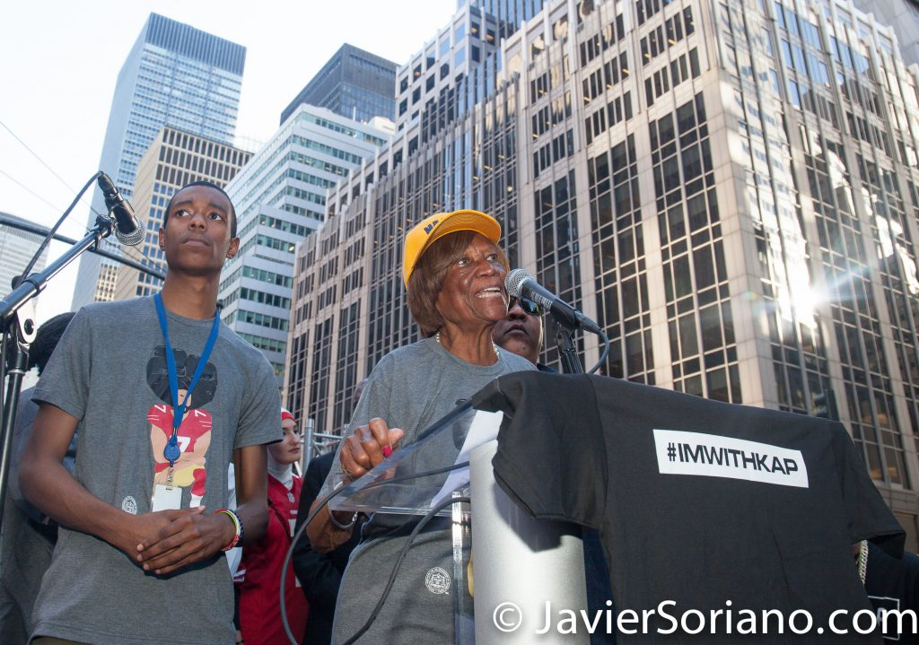 "8/23/2017 NYC - Dr. Hazel N. Dukes was one of the speakers at the ""United We Stand"" rally in support of Colin Kaepernick.  Dr. Hazel N. Dukes is President of the NAACP New York State Conference and a member of the NAACP National Board of Directors, a member of the NAACP Executive Committee and well as and active member of various NAACP board sub-committees. Photo by Javier Soriano/www.JavierSoriano.com"