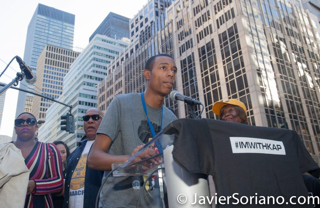 "8/23/2017 NYC - A member of the NAACP speaks at the ""United We Stand"" rally in support of Colin Kaepernick.  Photo by Javier Soriano/www.JavierSoriano.com"
