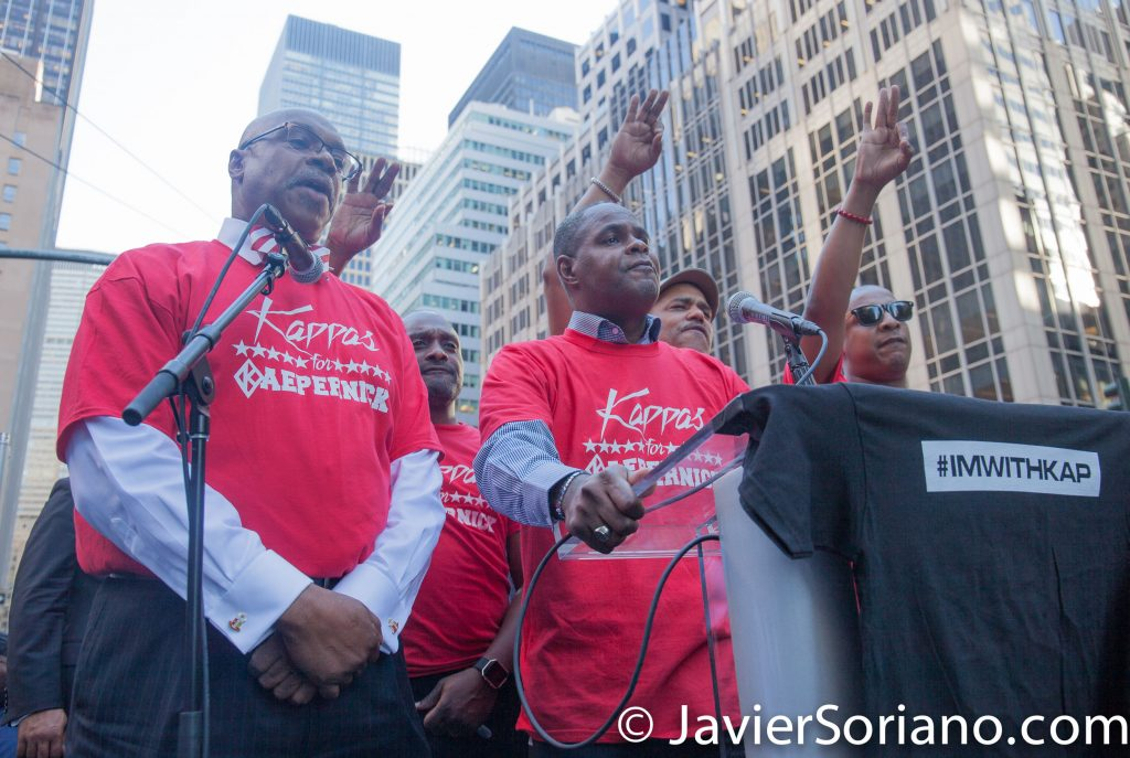 "8/23/2017 NYC - Members of Kappa Alpha Psi Fraternity, Inc. were some of the speakers at the ""United We Stand"" rally in support of Colin Kaepernick.  Photo by Javier Soriano/www.JavierSoriano.com"