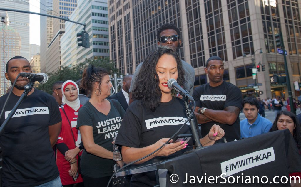 "8/23/2017 NYC - Carmen Perez was one of the speakers at the ""United We Stand"" rally in support of Colin Kaepernick. Carmen is National Co-Chair of Women's March, Executive Director, Gathering for Justice, Founder of Justice League NYC and Justice League CA. Photo by Javier Soriano/www.JavierSoriano.com"