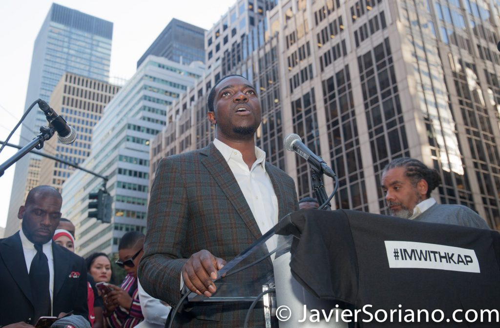 "8/23/2017 NYC - Rev. Stephen Green was one of the speakers at the ""United We Stand"" rally in support of Colin Kaepernick.  Stephen is a member of The People's Consortium Human and Civil Rights Inc. Photo by Javier Soriano/www.JavierSoriano.com"