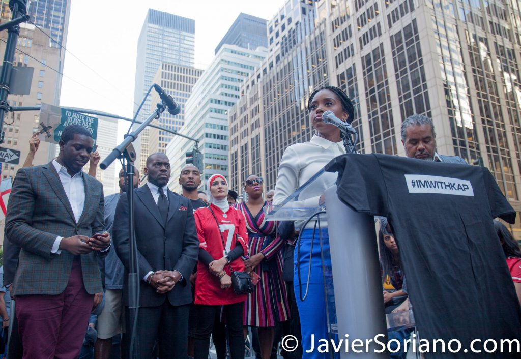 "8/23/2017 NYC - Tamika Mallory was one of the speakers at the ""United We Stand"" rally in support of Colin Kaepernick.  Tamika was one of the Women's March organizers. She is also an entrepreneur, speaker, freedom fighter, hip hop lover, fashionable protester. Photo by Javier Soriano/www.JavierSoriano.com"