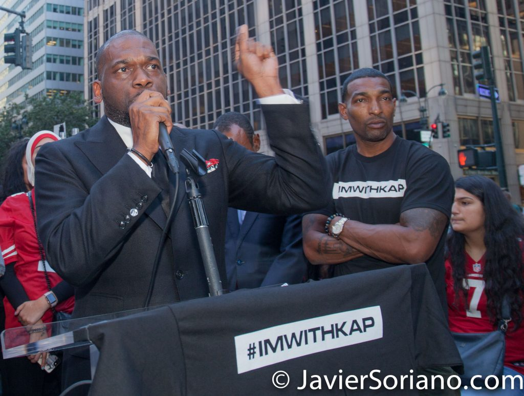 "8/23/2017 NYC - Rev. Pastor Jamal Harrison Bryant was one of the speakers at the ""United We Stand"" rally in support of Colin Kaepernick.  Radical, Revolutionary, Innovative, Anointed, and Cutting Edge are some of the words often used to describe Dr. Jamal-Harrison Bryant. This ministry driven vanguard has inspired thousands of believers around the nation. He has an unprecedented prophetic mantle that distinguishes him as a remarkable visionary who has made a powerful impact in the Christian Arena. Stepping out on faith and the support of 43 people who believed that God was going to do the unexpected, Dr. Bryant founded The Empowerment Temple. The first service was held on Easter Sunday, April 22, 2000, in a Baltimore City banquet hall. In just seven short years, God has directed the paths of over 10,000 members to Empowerment Temple, the fastest growing church in the A.M.E. denomination.  Photo by Javier Soriano/www.JavierSoriano.com"