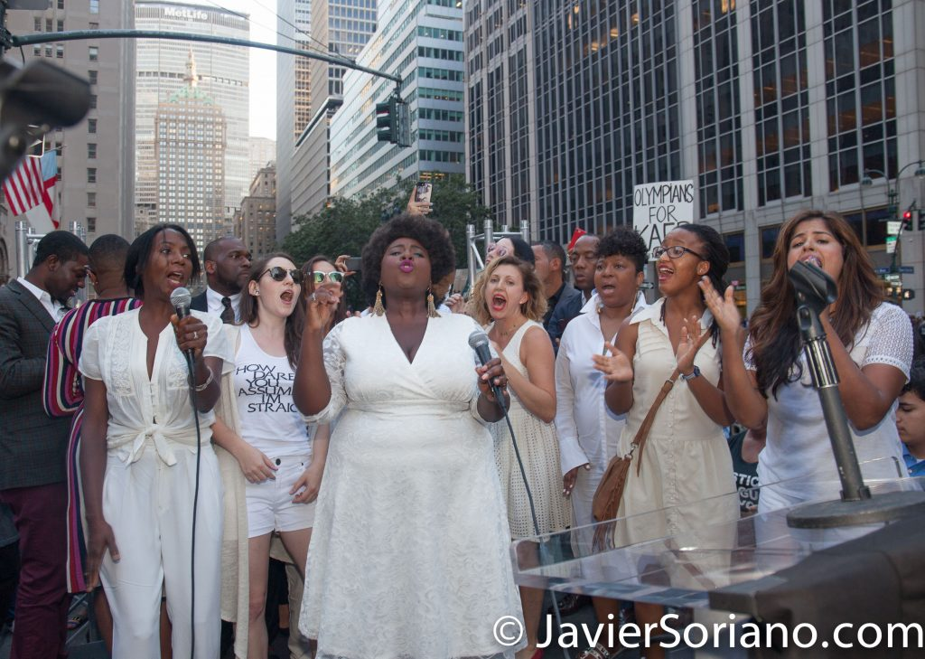 "8/23/2017 NYC -  Women's March Resistance Revival Chorus at the ""United We Stand"" rally in support of Colin Kaepernick. Photo by Javier Soriano/www.JavierSoriano.com"
