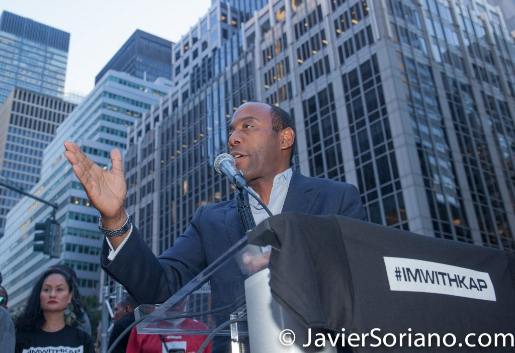"8/23/2017 NYC - Pastor at the ""United We Stand"" rally in support of Colin Kaepernick.  Photo by Javier Soriano/www.JavierSoriano.com"