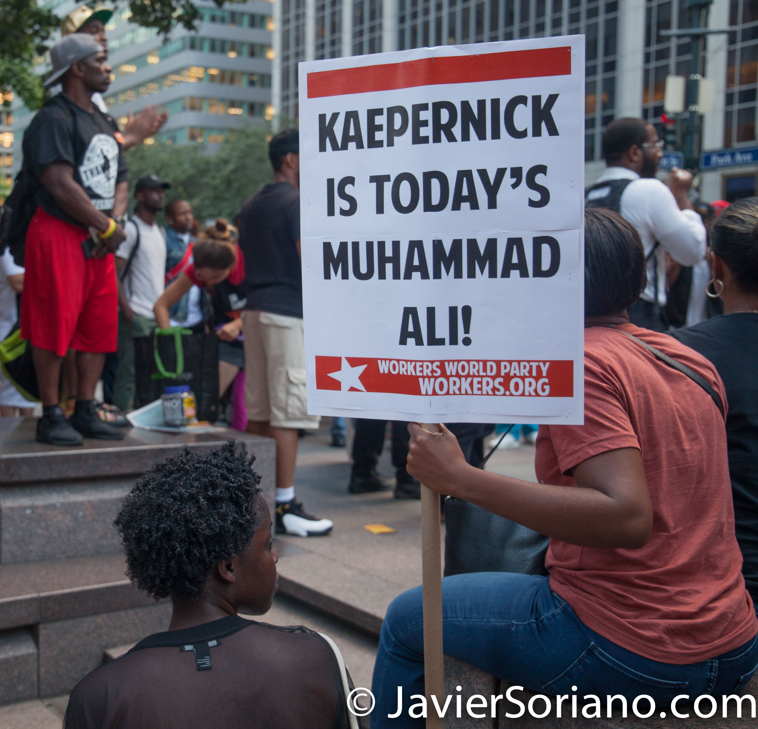"8/23/2017 NYC - People at the ""United We Stand"" rally in support of Colin Kaepernick. Photo by Javier Soriano/www.JavierSoriano.com"