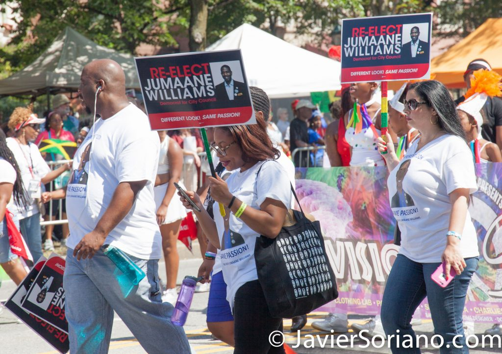 "9/4/2017 Brooklyn, NYC - 50th Anniversary West Indian American Labor Day Parade. ""Re-Elect Jumaane Williams. Democrat for City Council."" Photo by Javier Soriano/www.JavierSoriano.com"