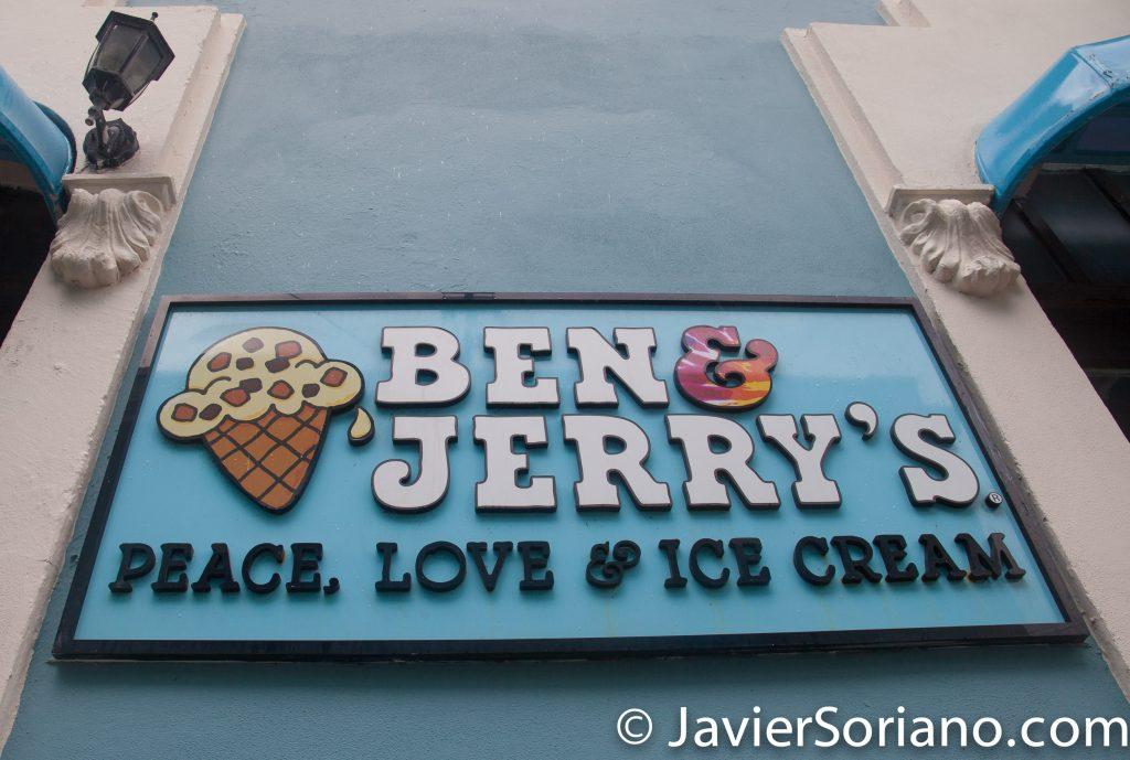 "9/14/2017. Old San Juan. Puerto Rico.  ""Ben & Jerry's Peace, Love & ice cream.""  Photo by Javier Soriano/www.JavierSoriano.com"