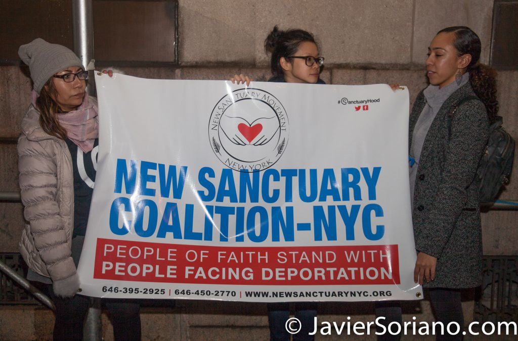 """1/11/2018 201 Verick Street. Immigration detention center. Manhattan, New York City - Vigil in support of Ravi Ragbir. """"On January 11, 2018, Ravi Ragbir, a nationally recognized immigrant rights leader and Executive Director of the New Sanctuary Coalition of New York City, was detained while reporting to U.S. Immigration and Customs Enforcement (ICE) for a routine check-in.""""_Ravi defense team Photo by Javier Soriano/www.JavierSoriano.com"""
