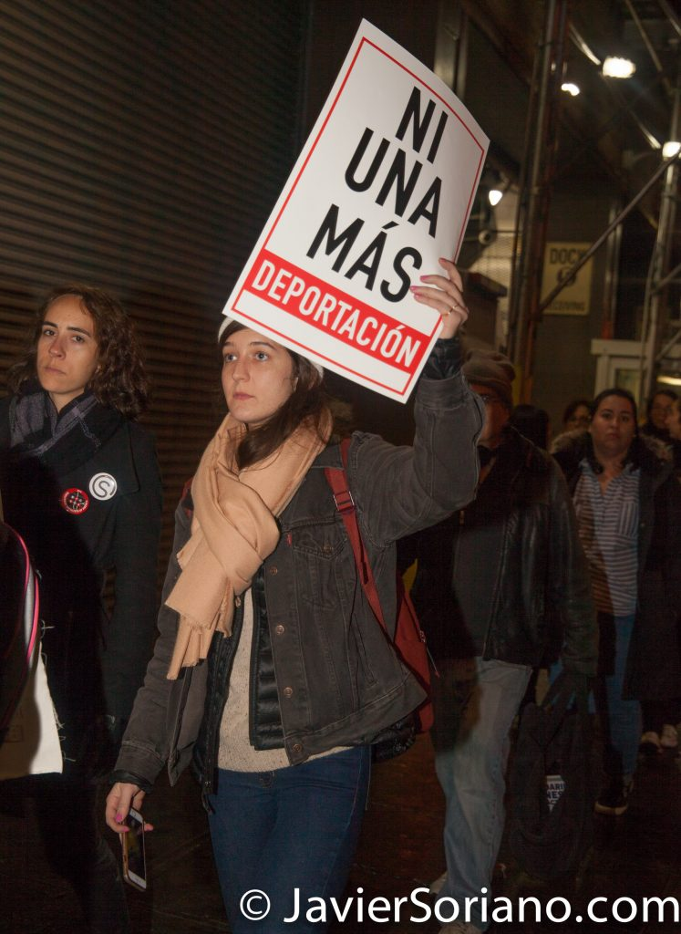 """1/11/2018 201 Verick Street. Immigration detention center. Manhattan, New York City - Jericho Walk in support of Ravi Ragbir. """"On January 11, 2018, Ravi Ragbir, a nationally recognized immigrant rights leader and Executive Director of the New Sanctuary Coalition of New York City, was detained while reporting to U.S. Immigration and Customs Enforcement (ICE) for a routine check-in.""""_Ravi defense team Photo by Javier Soriano/www.JavierSoriano.com"""