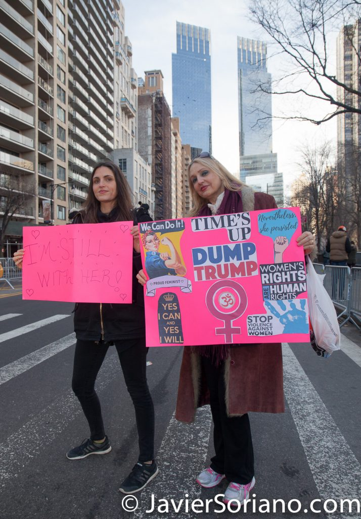 "1/20/2018. Manhattan, NYC - Women's March. ""I'm still with her."" ""Time's up. We can do it! Women's rights are human rights. Nevertheless, she persisted."" Photo by Javier Soriano/www.JavierSoriano.com"
