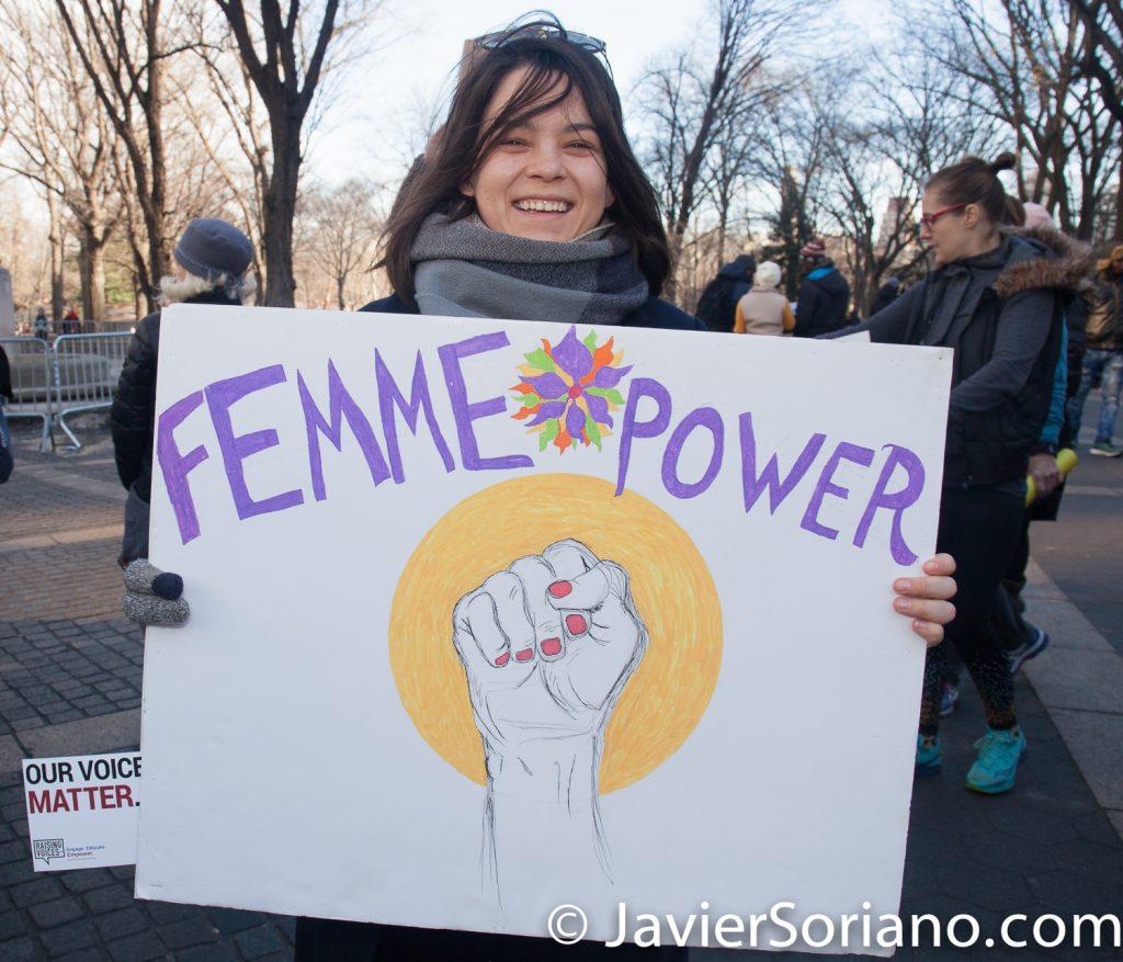 "1/20/2018. Manhattan, NYC - Women's March. ""Femme Power""  Photo by Javier Soriano/www.JavierSoriano.com"