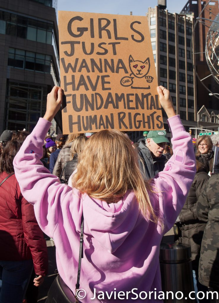 "1/20/2018. Manhattan, NYC - Women's March. ""Girls just wanna have fundamental human rights.""  Photo by Javier Soriano/www.JavierSoriano.com"