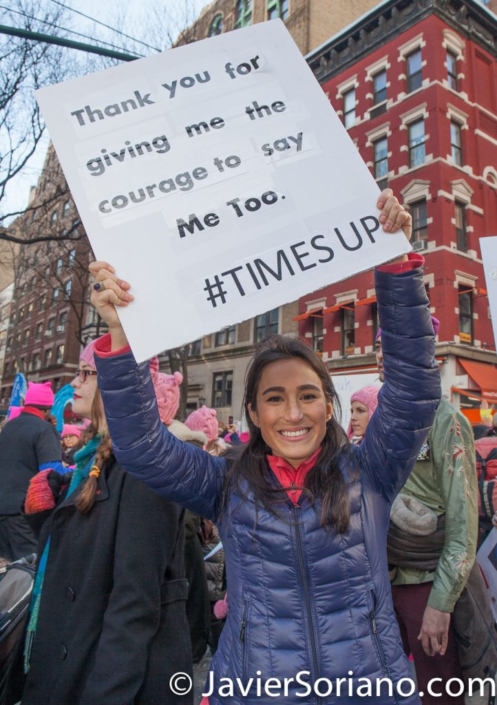 "1/20/2018. Manhattan, NYC - Women's March. ""Thank you for giving me the courage to say me too."" ""#TimesUp""  Photo by Javier Soriano/www.JavierSoriano.com"