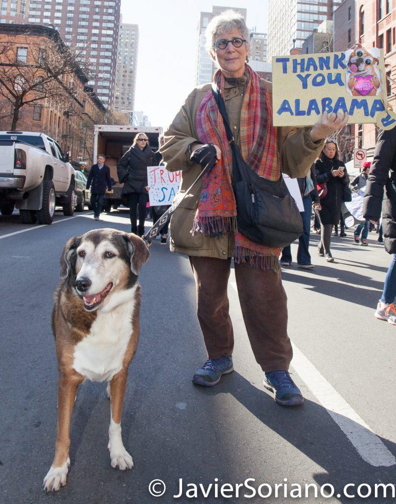 """1/20/2018. Manhattan, NYC - Women's March. """"Thank you Alabama""""  Photo by Javier Soriano/www.JavierSoriano.com"""