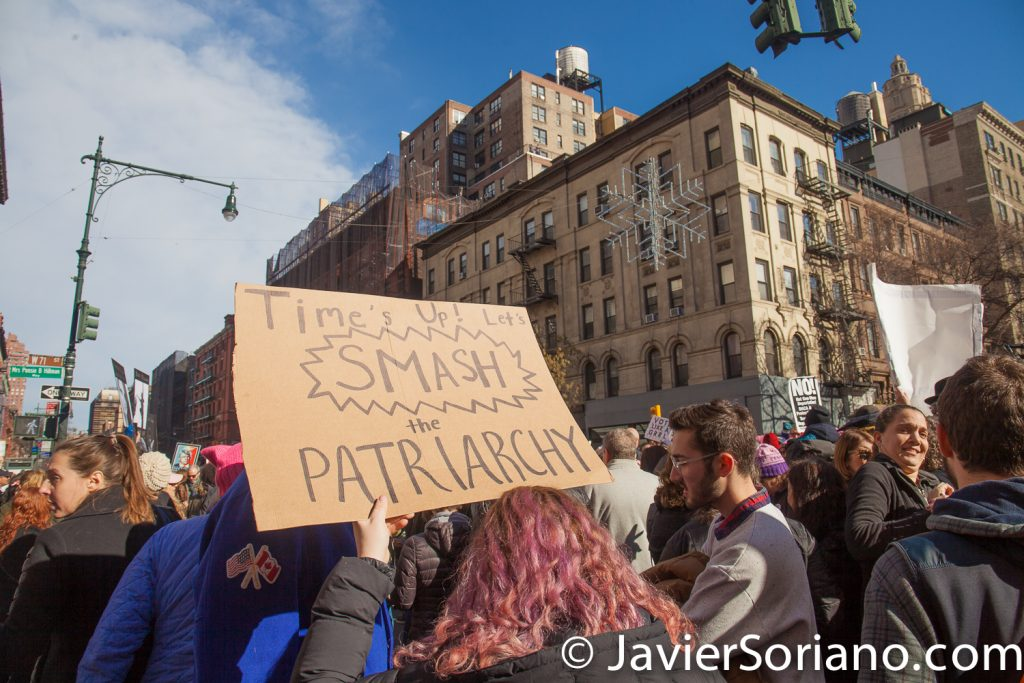 "1/20/2018. Manhattan, NYC - Women's March. ""Time's up! Let's smash the patriarchy""  Photo by Javier Soriano/www.JavierSoriano.com"