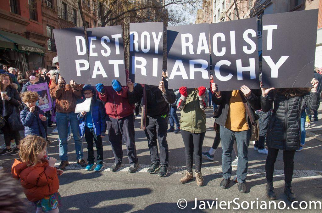 """1/20/2018. Manhattan, NYC - Women's March. """"Destroy racist patriarchy""""   Photo by Javier Soriano/www.JavierSoriano.com"""