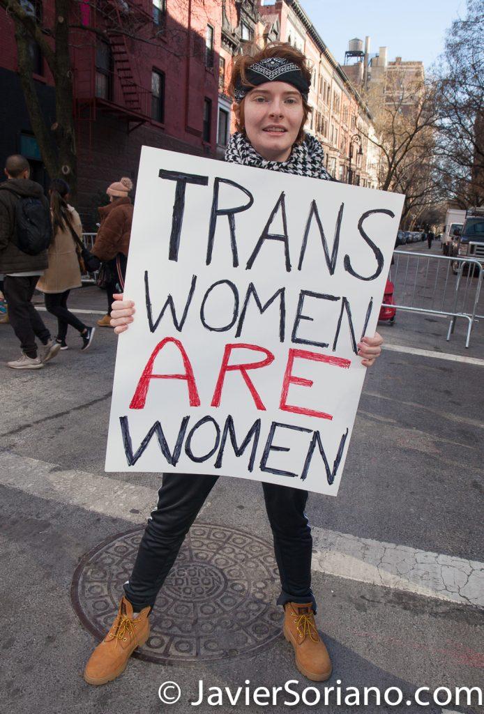 "1/20/2018. Manhattan, NYC - Women's March. ""Trans women are women"" Photo by Javier Soriano/www.JavierSoriano.com"