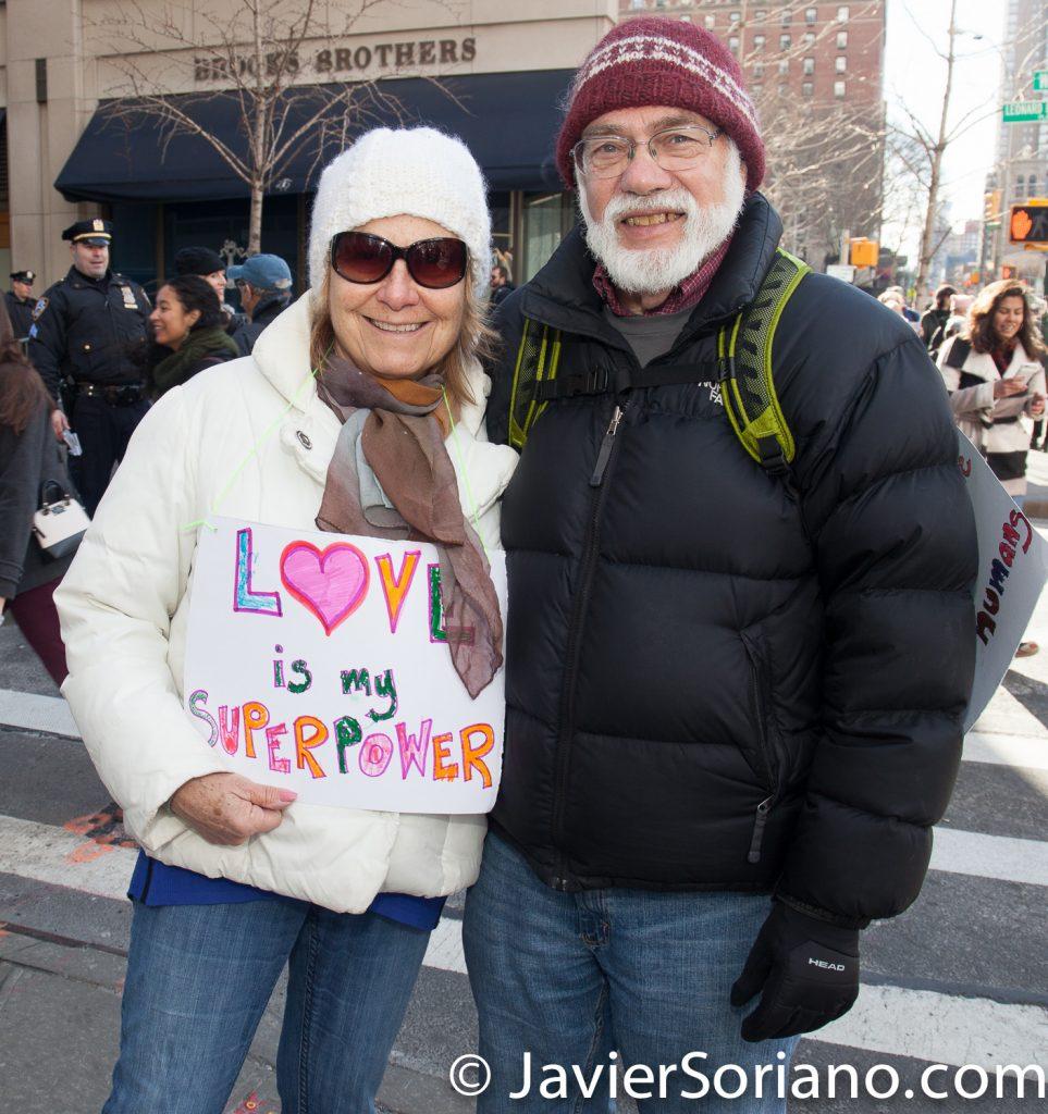 "1/20/2018. Manhattan, NYC - Women's March. ""Love is my superpower""  Photo by Javier Soriano/www.JavierSoriano.com"