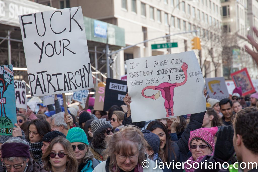 "1/20/2018. Manhattan, NYC - Women's March. ""Fuck your patriarchy"" ""If 1 man can destroy everything, why can't 1 girl change it""  Photo by Javier Soriano/www.JavierSoriano.com"