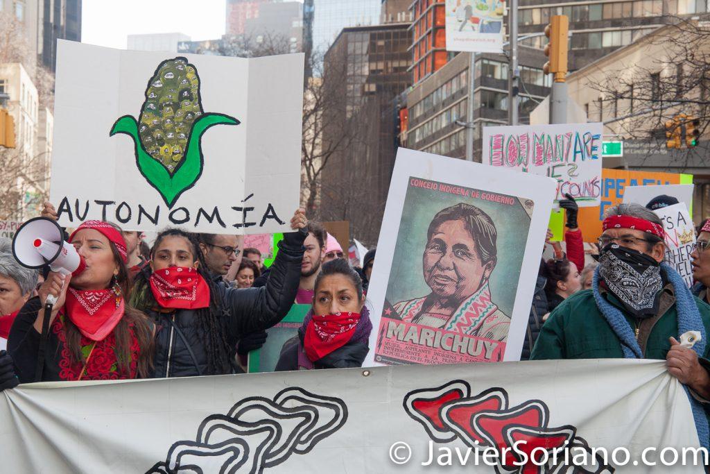 1/20/2018. Manhattan, NYC - Women's March. Francisco Grado Villa. Delegado del CNI (Congreso Nacional Indígena) y otras mujeres y hombres Indígenas.  Photo by Javier Soriano/www.JavierSoriano.com