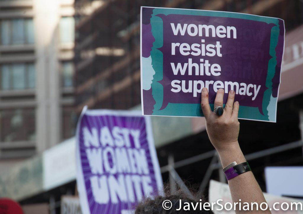 "1/20/2018. Manhattan, NYC - Women's March. ""Women resist white supremacy"" Photo by Javier Soriano/www.JavierSoriano.com"