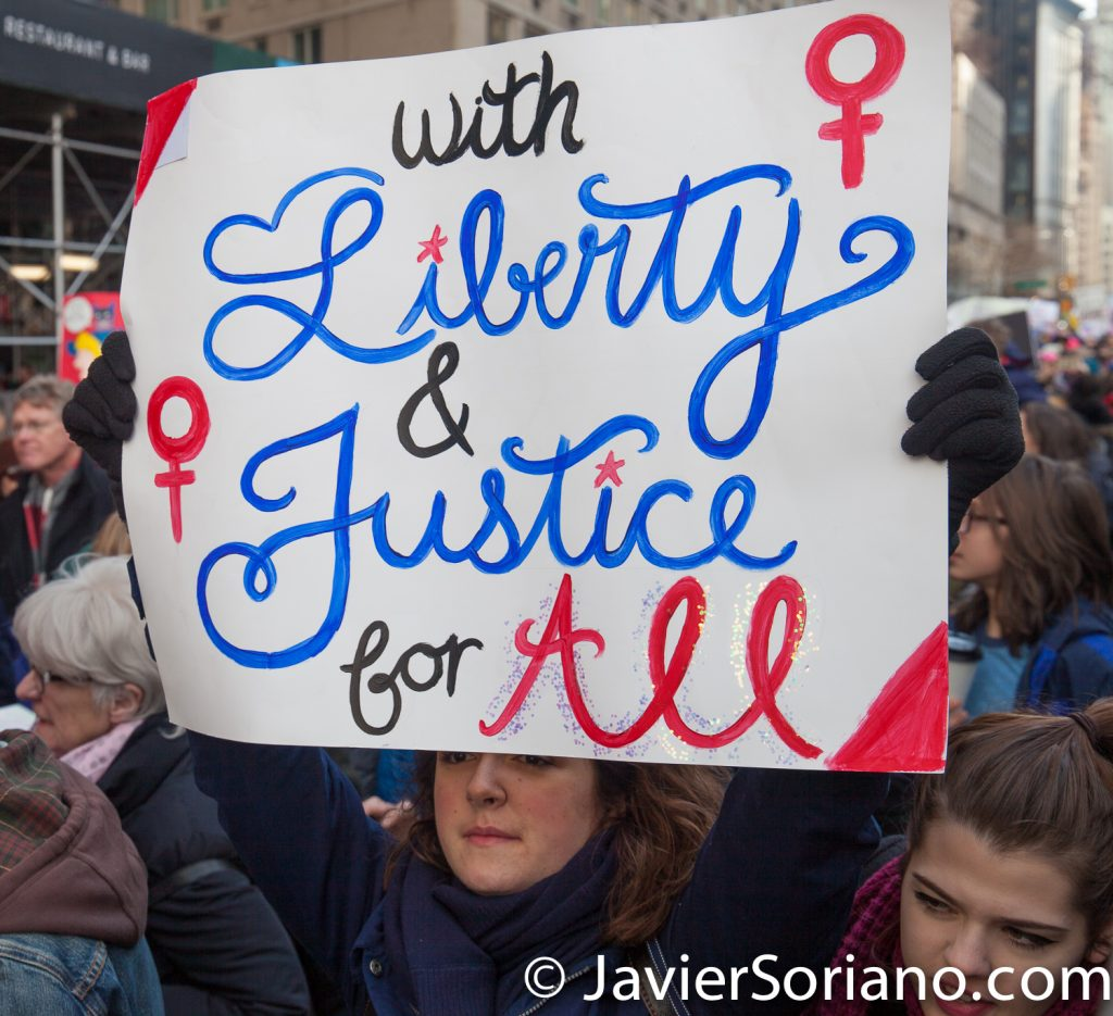 "1/20/2018. Manhattan, NYC - Women's March. ""With liberty & justice for all""""  Photo by Javier Soriano/www.JavierSoriano.com"