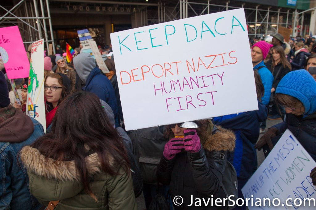 "1/20/2018. Manhattan, NYC - Women's March. ""Keep DACA"" ""Deport Nazis"" ""Humanity first""  Photo by Javier Soriano/www.JavierSoriano.com"